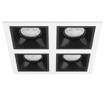 Встраиваемый светильник Lightstar Domino D54607070707, 4xGU5.3x50W, черный, черно-белый, металл