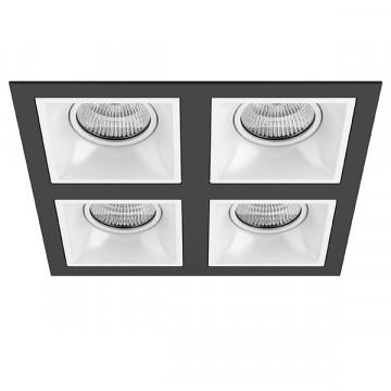 Встраиваемый светильник Lightstar Domino D54706060606, 4xGU5.3x50W, черный, черно-белый, металл