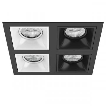 Встраиваемый светильник Lightstar Domino D54706060707, 4xGU5.3x50W, черный, черно-белый, металл