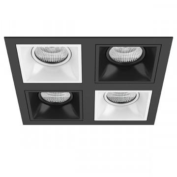 Встраиваемый светильник Lightstar Domino D54706070607, 4xGU5.3x50W, черный, черно-белый, металл