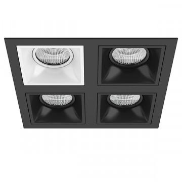 Встраиваемый светильник Lightstar Domino D54706070707, 4xGU5.3x50W, черный, черно-белый, металл