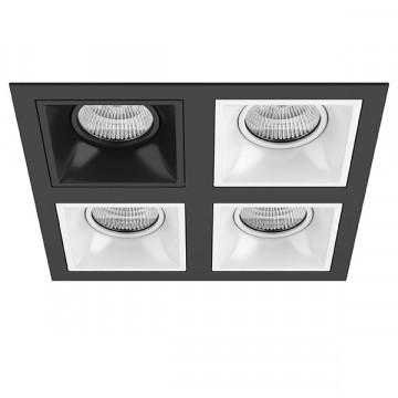 Встраиваемый светильник Lightstar Domino D54707060606, 4xGU5.3x50W, черный, черно-белый, металл