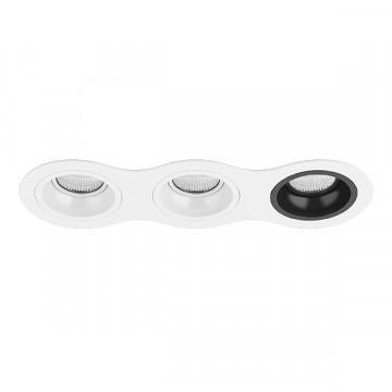 Встраиваемый светильник Lightstar Domino D636060607, 3xGU5.3x50W, черный, черно-белый, металл