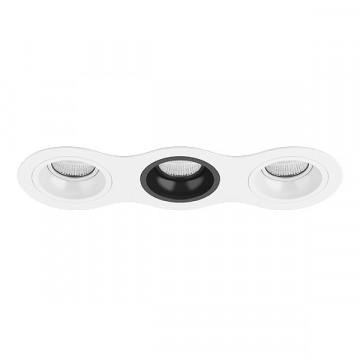 Встраиваемый светильник Lightstar Domino D636060706, 3xGU5.3x50W, черный, черно-белый, металл