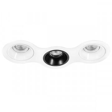 Встраиваемый светильник Lightstar Domino D696060706, 3xGU5.3x50W, черный, черно-белый, металл