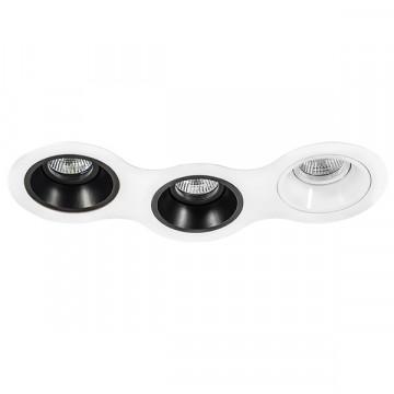 Встраиваемый светильник Lightstar Domino D696070706, 3xGU5.3x50W, черный, черно-белый, металл