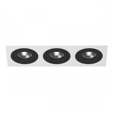 Встраиваемый светильник Lightstar Intero 16 i536070707, 3xGU10x50W, черный, черно-белый, металл