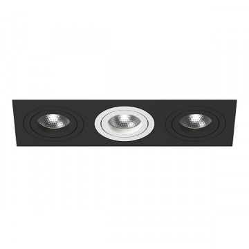 Встраиваемый светильник Lightstar Intero 16 i537070607, 3xGU10x50W, черный, черно-белый, металл