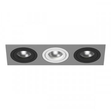 Встраиваемый светильник Lightstar Intero 16 i539070607, 3xGU10x50W, черный, серый, металл