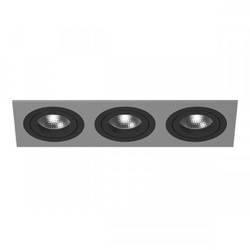 Встраиваемый светильник Lightstar Intero 16 i539070707, 3xGU10x50W, черный, серый, металл