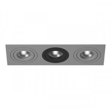 Встраиваемый светильник Lightstar Intero 16 i539090709, 3xGU10x50W, черный, серый, металл
