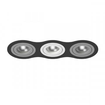 Встраиваемый светильник Lightstar Intero 16 i637090609, 3xGU10x50W, черный, серый, металл