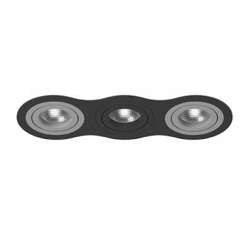 Встраиваемый светильник Lightstar Intero 16 i637090709, 3xGU10x50W, черный, серый, металл
