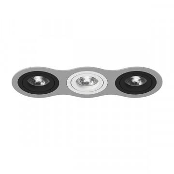 Встраиваемый светильник Lightstar Intero 16 i639070607, 3xGU10x50W, черный, серый, металл