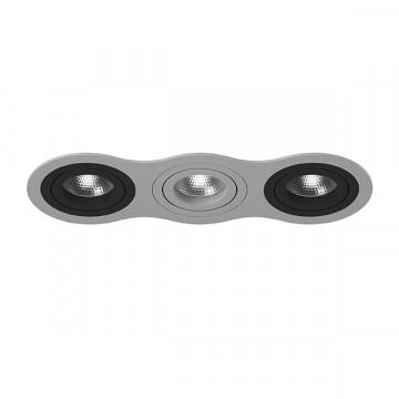 Встраиваемый светильник Lightstar Intero 16 i639070907, 3xGU10x50W, черный, серый, металл