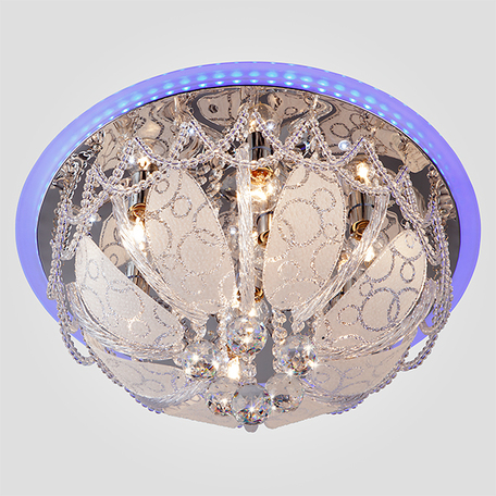 Потолочная люстра Eurosvet Disco 80100/8 хром/голубой, 8xE14x60W + LED, хром, белый, прозрачный, металл, хрусталь