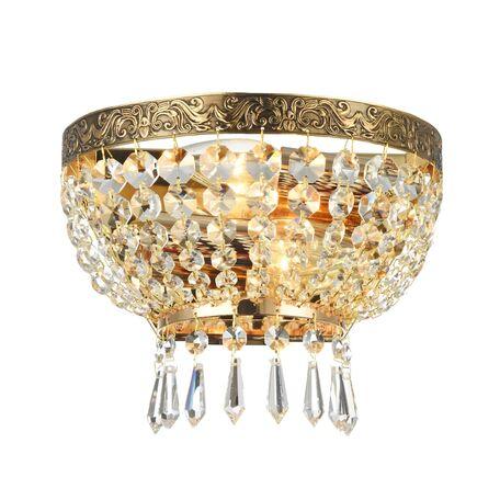 Бра Maytoni Tiara DIA500-WL-02-G (b500-wb1-g), 2xE14x60W, черненое золото, прозрачный, металл, хрусталь