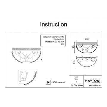 Схема с размерами Maytoni DIA700-WL-02-N