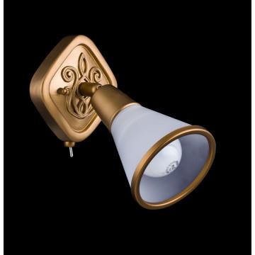 Настенный светильник с регулировкой направления света Maytoni Luther SP008-CW-01-G (ECO008-01-G), 1xE14x40W, матовое золото, матовое золото с белым, белый с матовым золотом, металл, стекло - миниатюра 3