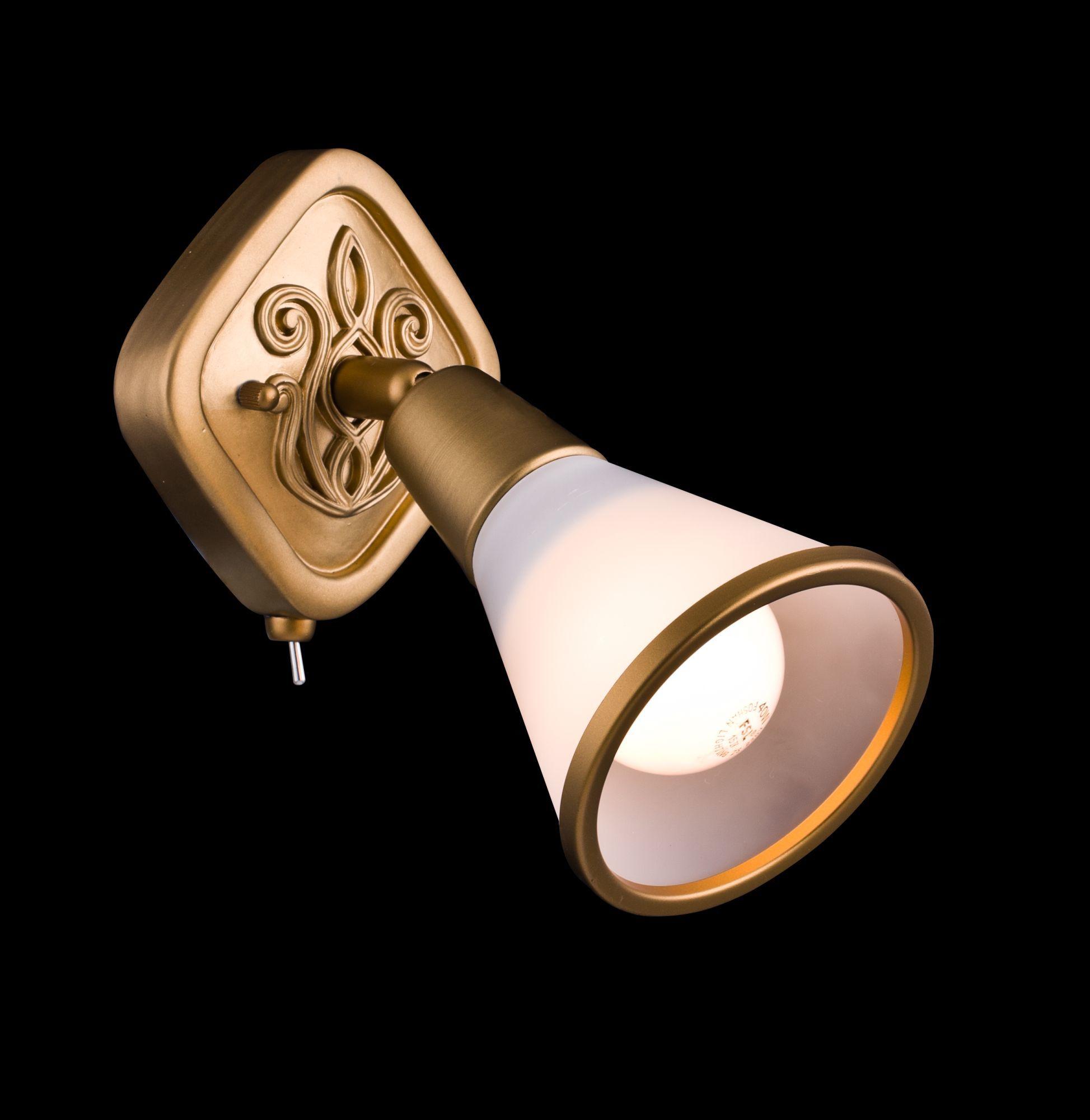 Настенный светильник с регулировкой направления света Maytoni Luther SP008-CW-01-G (ECO008-01-G), 1xE14x40W, матовое золото, матовое золото с белым, белый с матовым золотом, металл, стекло - фото 4