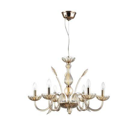 Подвесная люстра Maytoni Luciano DIA587-PL-06-R (arm587-06-r), 6xE14x40W, золото, янтарь, стекло