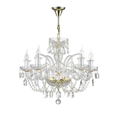 Подвесная люстра Maytoni Lira DIA907-PL-05-G (arm907-05-g), 5xE14x60W, золото, прозрачный, стекло