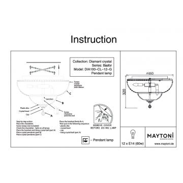 Схема с размерами Maytoni DIA100-CL-12-G