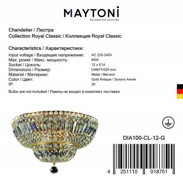 Потолочная люстра Maytoni Royal Classic Basfor DIA100-CL-12-G (C100-PT45-G), 12xE14x60W, золото, прозрачный, металл, хрусталь - миниатюра 3