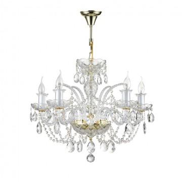 Подвесная люстра Maytoni Lira DIA907-PL-05-G (arm907-05-g), 5xE14x60W, золото, прозрачный, металл, стекло, хрусталь