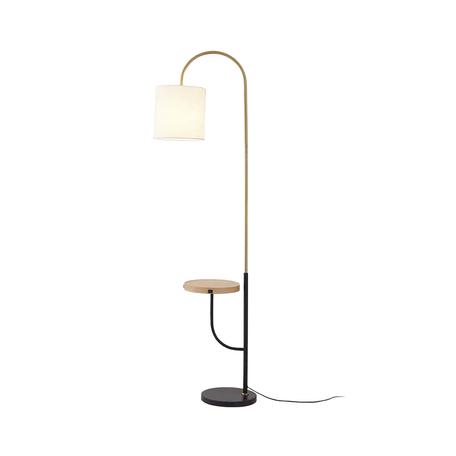 Торшер со столиком Kink Light Оттон 07180, 1xE27x40W, коричневый, черный, белый, дерево, металл, текстиль