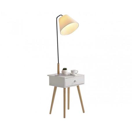 Торшер со столиком Kink Light Джит 07186,01, 1xE27x40W, белый, коричневый, дерево, металл, текстиль