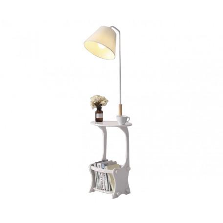 Торшер с полкой со столиком Kink Light Талиус 07187,01, 1xE27x40W, белый, коричневый, дерево, металл, текстиль