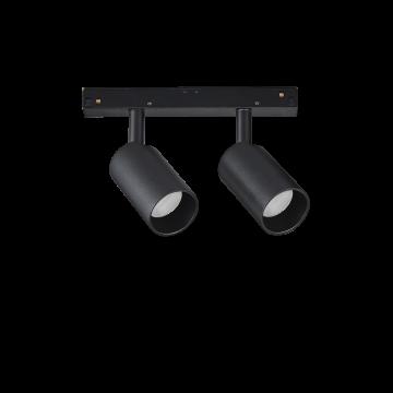 Светодиодный светильник для магнитной системы Ideal Lux OXY TRACK DOUBLE 15W 3000K 224145, LED 15W 3000K (теплый), черный, металл