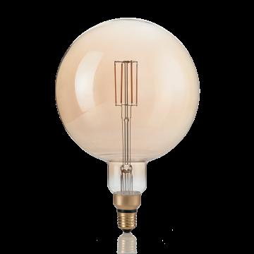 Светодиодная лампа Ideal Lux E27 VINTAGE XL 04W GLOBO D125 AMBRA 2200K DIMM 223834 (VINTAGE XL E27 4W GLOBO BIG 2200K DIMMER) шар E27 4W (теплый), диммируемая