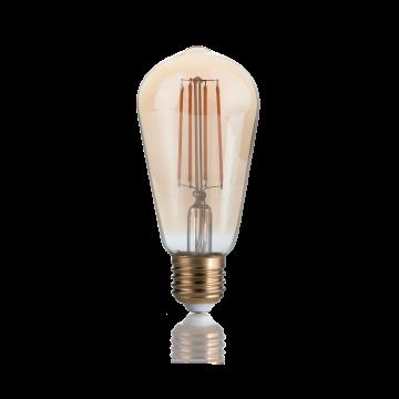 Светодиодная лампа Ideal Lux E27 VINTAGE 04W CONO AMBRA 2200K DIMM 223919 (VINTAGE E27 4W CONO 2200K DIMMER) прямосторонняя груша E27 4W (теплый), диммируемая