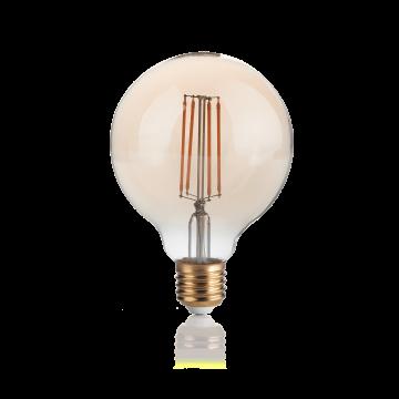 Светодиодная лампа Ideal Lux E27 VINTAGE 04W GLOBO D095 AMBRA 2200K DIMM 223933 (VINTAGE E27 4W GLOBO SMALL 2200K DIMMER) шар малый E27 4W (теплый), диммируемая