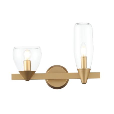 Настенный светильник ST Luce Teneresa SL1119.201.02, 2xE14x40W, матовое золото, прозрачный, металл, стекло