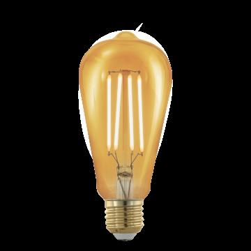 Филаментная светодиодная лампа Eglo 11696 прямосторонняя груша E27 4W, 1700K (теплый), диммируемая, гарантия 5 лет
