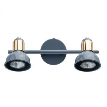 Потолочный светильник с регулировкой направления света De Markt Хоф 552020202, 2xGU10x50W, голубой, золото, металл