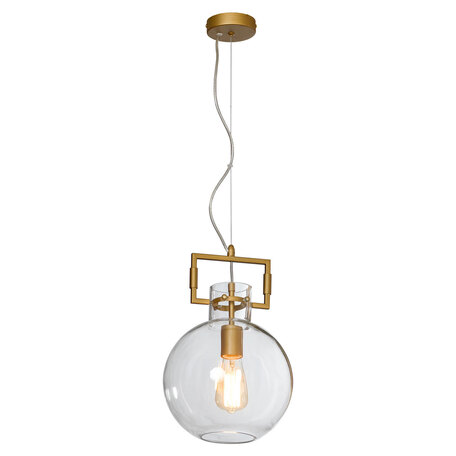 Подвесной светильник Lussole Loft Salinas LSP-8299, IP21, 1xE27x40W, матовое золото, прозрачный, металл, стекло