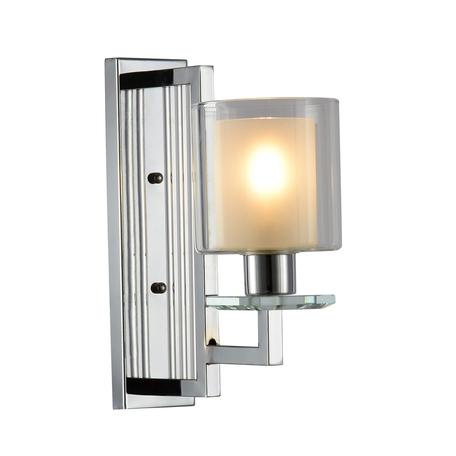 Настенный светильник Lumina Deco Manhattan LDW 8012-1W CHR, 1xE27x40W, хром, белый, прозрачный, металл со стеклом, стекло