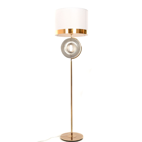 Торшер Lumina Deco Monteroni LDF 5532 F.GD+WT, 1xE27x40W, золото, белый, металл, текстиль