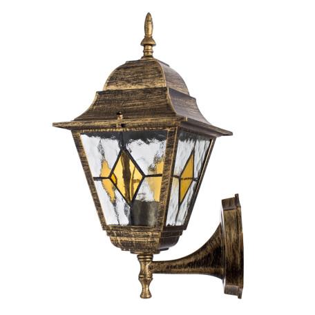 Настенный фонарь Arte Lamp Berlin A1011AL-1BN, IP44, 1xE27x75W, черненое золото, прозрачный, янтарь, металл, металл со стеклом
