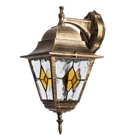 Настенный фонарь Arte Lamp Berlin A1012AL-1BN, IP44, 1xE27x75W, черненое золото, прозрачный, янтарь, металл, металл со стеклом