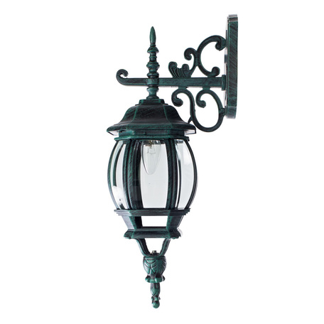 Настенный фонарь Arte Lamp Atlanta A1042AL-1BG, IP21, 1xE27x75W, бирюзовый, прозрачный, металл, ковка, металл со стеклом