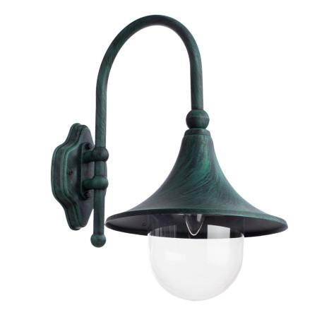 Настенный фонарь Arte Lamp Malaga A1082AL-1BG, IP44, 1xE27x75W, бирюзовый, прозрачный, металл, металл со стеклом/пластиком