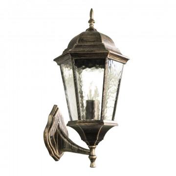 Настенный фонарь Arte Lamp Genova A1201AL-1BN, IP44, 1xE27x60W, черненое золото, прозрачный, черный с золотой патиной, металл, металл со стеклом