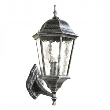 Настенный фонарь Arte Lamp Genova A1201AL-1BS, IP44, 1xE27x60W, серый, черненое серебро, прозрачный, металл, металл со стеклом