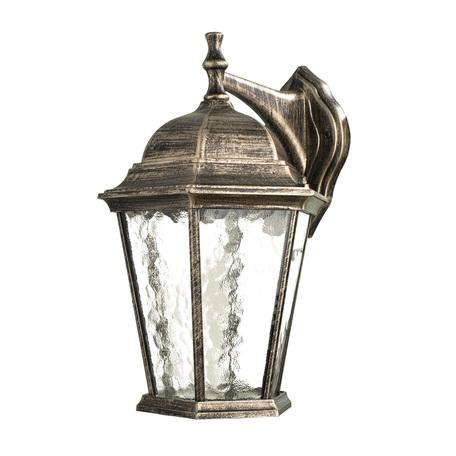 Настенный фонарь Arte Lamp Genova A1202AL-1BN, IP21, 1xE27x75W, черненое золото, прозрачный, черный с золотой патиной, металл, металл со стеклом