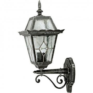 Настенный фонарь Arte Lamp Paris A1351AL-1BS, IP44, 1xE27x75W, черненое серебро, прозрачный, металл, стекло